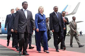 Hilary clinton Arrival in Addis Ababa