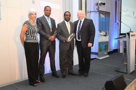 From left to right: Diane De Souza, VP Parts Services at Bombardier Customer; Kidus Melkamu, Manager Turbo Prop and Light Aircraft Maintenance at Ethiopian MRO; Zemene Nega, AVP Ethiopian MRO and Todd Young, VP, Customer Services and Support at Bombardier during the award ceremony.