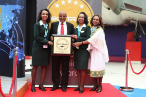CEO Mr. Tewolde with Ethiopian cabin crew