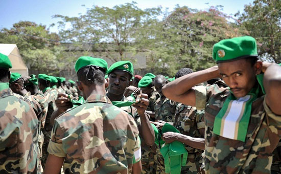 Members of Ethiopian Naitonal Defense Forces joins AMISOM