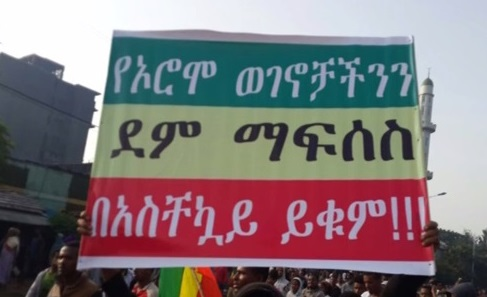 Demonstrators demanding political change in Ethiopia