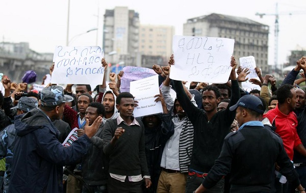 Protest in Addis Ababa, Ethiopia. AUgust 6, 2006